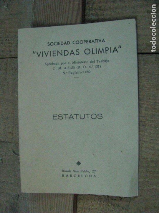 SOCIEDAD COOPERATIVA VIVIENDAS OLIMPIA ESTATUTOS. BARCELONA (Libros Antiguos, Raros y Curiosos - Ciencias, Manuales y Oficios - Otros)