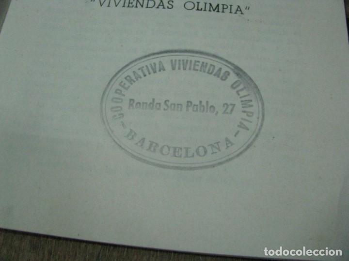Libros antiguos: SOCIEDAD COOPERATIVA VIVIENDAS OLIMPIA ESTATUTOS. BARCELONA - Foto 5 - 179141531