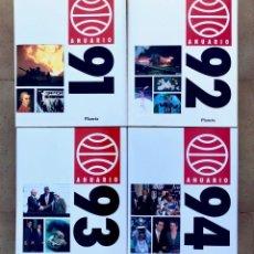 Libros antiguos: LOTE DE 4 LIBROS - ANUARIO DE 1991 1992 1993 1994 - EDITORIAL PLANETA. Lote 179255407