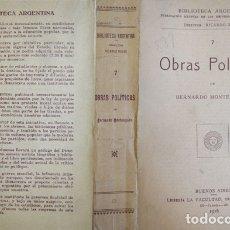 Libros antiguos: MONTEAGUDO, BERNARDO. OBRAS POLÍTICAS. 1916.. Lote 179391123