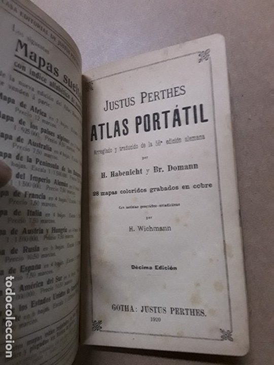 Libros antiguos: Atlas portatil,justus perthes,1920 - Foto 4 - 180027860