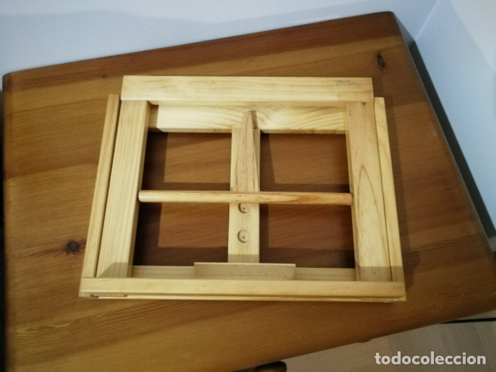 Libros antiguos: Atril para libros de madera 32 x 25 x 7 cm plegable tres alturas - Foto 4 - 180108892