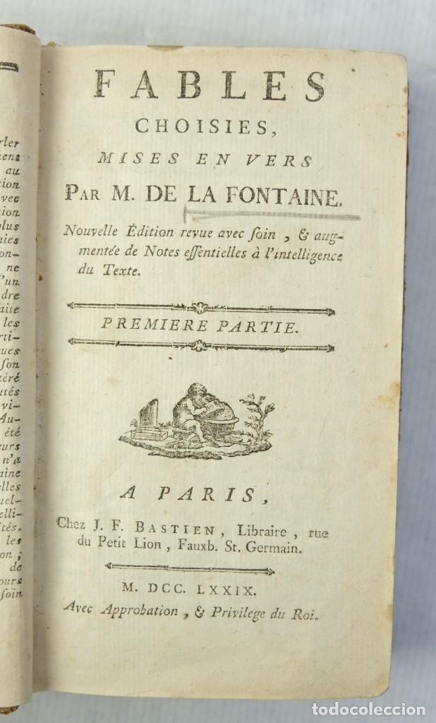 FABLES CHOISIES, M.DE LA FONTAINE-LIBRAIRE CHEZ J.F.BASTIEN 1779 (Libros antiguos (hasta 1936), raros y curiosos - Literatura - Narrativa - Otros)
