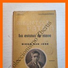 Libros antiguos: LA ESTATUA DE NIEVE, CONSEJA INFANTIL Y EJEMPLAR - DIEGO SAN JOSÉ - BIBLIOTECA PATRIA Nº 155. Lote 180405053