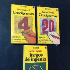 Libros antiguos: 3 LIBROS DE CRUCIGRAMAS ( TURELL ) JUEGOS DE INGENIO / ED. BRUGUERA - AÑOS 80 / PRECINTADOS. Lote 180883713