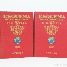 Libros antiguos: WELLS (H. G.).– ESQUEMA DE LA HISTORIA. ATENEA, 1925 [EN 2 TOMOS] ENC. EN TELA. Lote 181763175