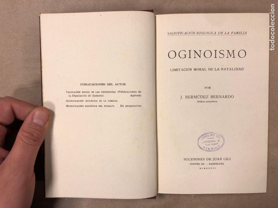 Libros antiguos: OGINOISMO, LIMITACIÓN MORAL DE LA NATALIDAD. J. BERMÚDEZ BERNARDO. SUCESORES DE JUAN GILI 1936 - Foto 2 - 182129942