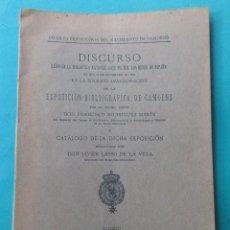 Libros antiguos: DISCURSO. EXPOSICIÓN BIBLIOGRÁFICA DE CAMOENS. . MADRID 1926. 50 PÁGINAS + 4 HOJAS.24 X 17 CM.. Lote 182143755