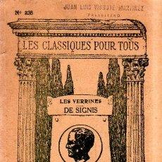 Libros antiguos: CICERON. LES VERRINES DE SIGNIS. PAR CH. GEORGIN.. Lote 182151591