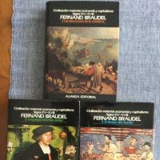Libros antiguos: CIVILIZACIÓN MATERIAL, ECONOMÍA Y CAPITALISMO, S. XV-XVIII. 3 TOMOS. FERNAND BRAUDEL. O. C.. Lote 182197011