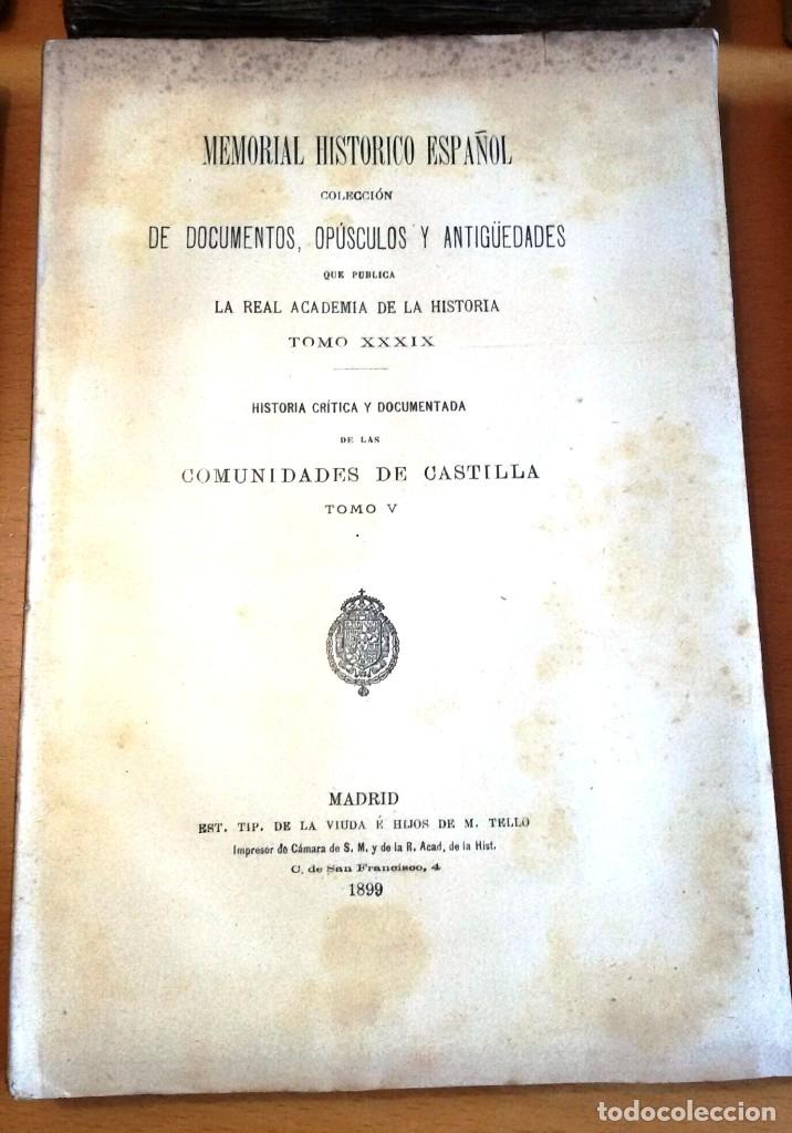 Libros antiguos: MEMORIAL HISTÓRICO ESPAÑOL. COMUNIDADES DE CASTILLA 6 TOMOS, COMPLETO (R.A.Hª 1897-1900) SIN USAR - Foto 3 - 182201821