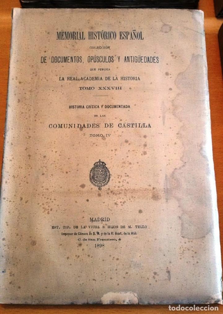 Libros antiguos: MEMORIAL HISTÓRICO ESPAÑOL. COMUNIDADES DE CASTILLA 6 TOMOS, COMPLETO (R.A.Hª 1897-1900) SIN USAR - Foto 4 - 182201821