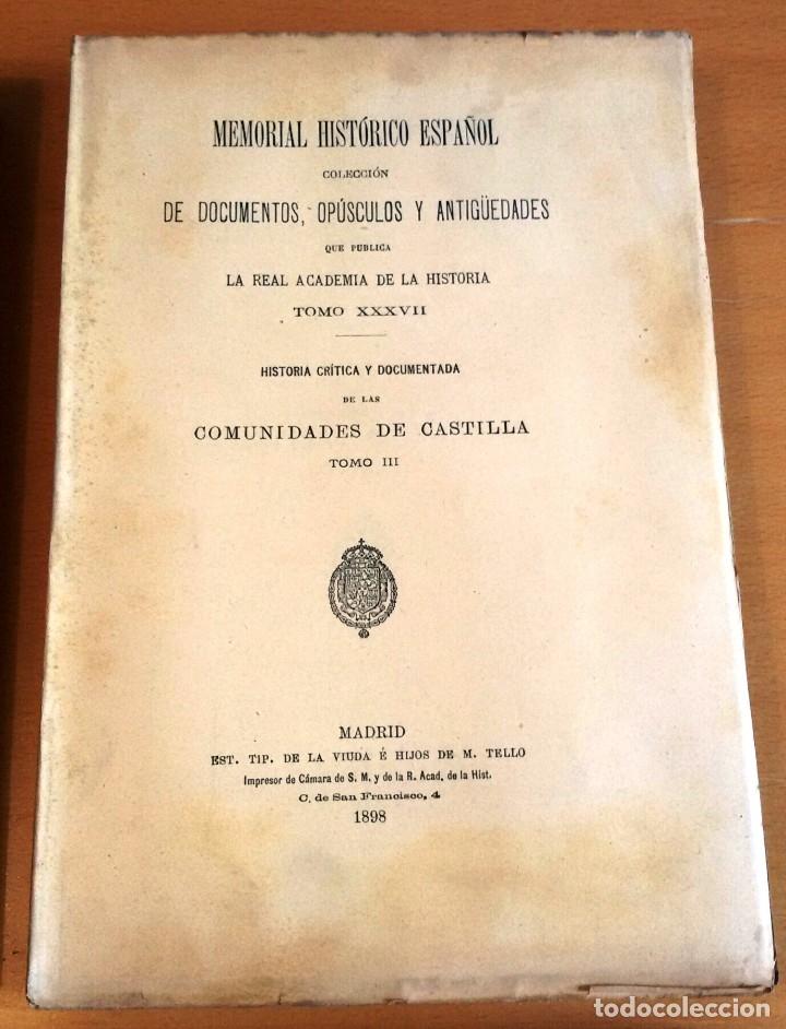 Libros antiguos: MEMORIAL HISTÓRICO ESPAÑOL. COMUNIDADES DE CASTILLA 6 TOMOS, COMPLETO (R.A.Hª 1897-1900) SIN USAR - Foto 5 - 182201821