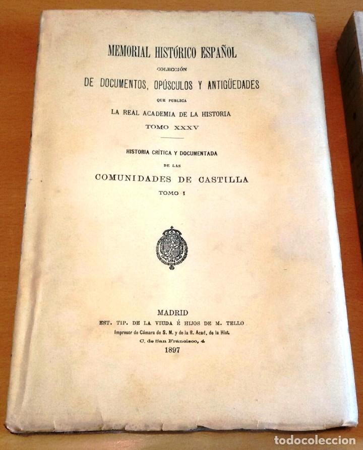 Libros antiguos: MEMORIAL HISTÓRICO ESPAÑOL. COMUNIDADES DE CASTILLA 6 TOMOS, COMPLETO (R.A.Hª 1897-1900) SIN USAR - Foto 7 - 182201821