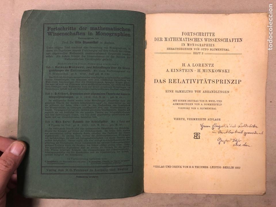 Libros antiguos: DAS RELATIVITATSPRINZIP. H.A. LORENTZ - A. EINSTEIN - H. MINKOWSKI. 1922 VERLAG UND DRUCK VON B.G. - Foto 2 - 182546681