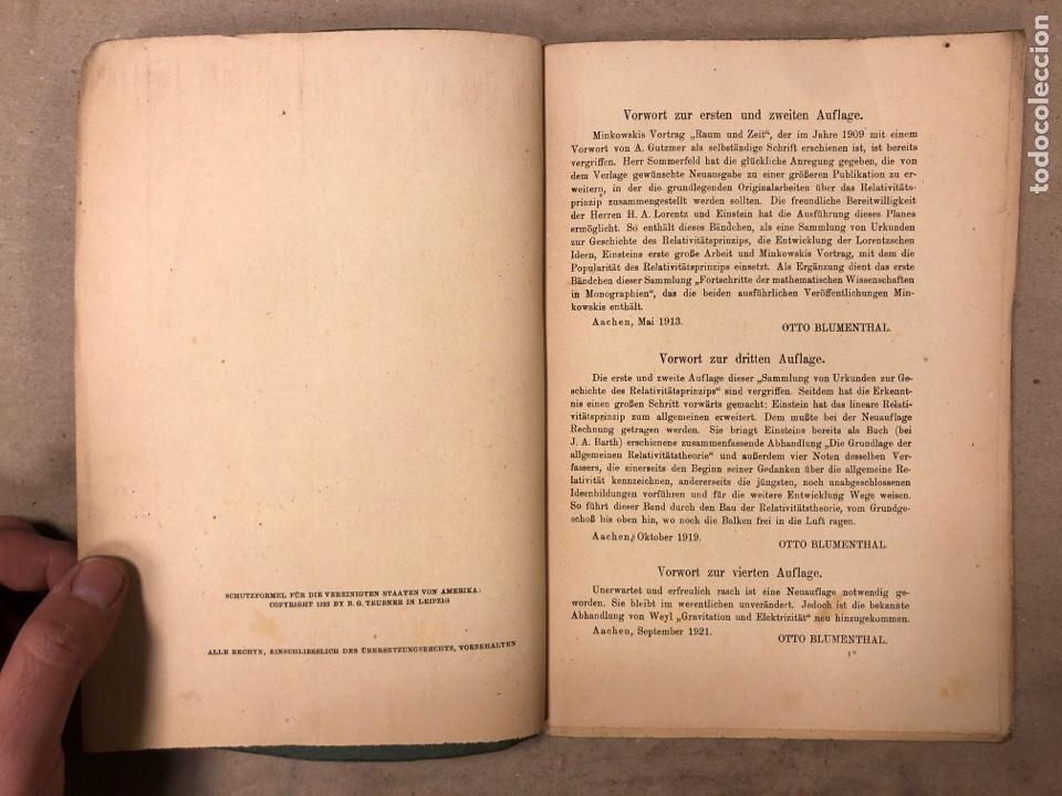 Libros antiguos: DAS RELATIVITATSPRINZIP. H.A. LORENTZ - A. EINSTEIN - H. MINKOWSKI. 1922 VERLAG UND DRUCK VON B.G. - Foto 3 - 182546681