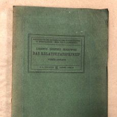 Libros antiguos: DAS RELATIVITATSPRINZIP. H.A. LORENTZ - A. EINSTEIN - H. MINKOWSKI. 1922 VERLAG UND DRUCK VON B.G.. Lote 182546681
