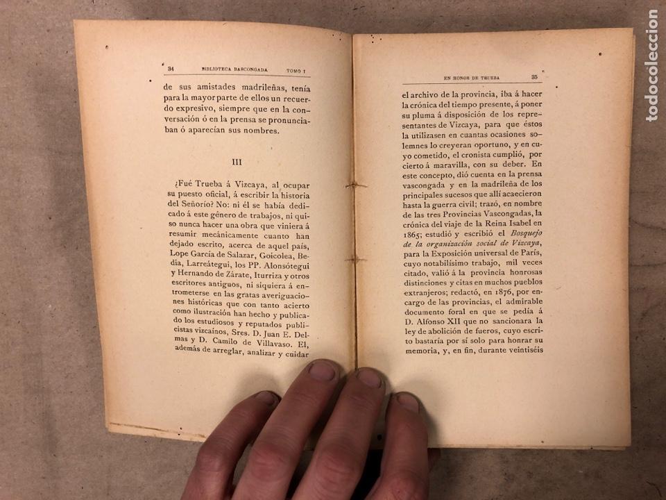 Libros antiguos: EN HONOR DE TRUEBA. VV.AA. BIBLIOTECA BASCONGADA TOMO I. 1896 (BILBAO). 211 PÁGINAS - Foto 4 - 182548241