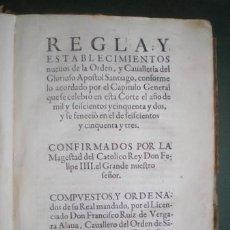 Libros antiguos: RUIZ DE VERGARA ALAVA: REGLA DE LA ORDEN Y CAVALLERIA DEL APOSTOL SANTIAGO. 1655 1ª EDICIÓN. Lote 182606931