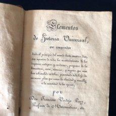Libros antiguos: LIBRO. ELEMENTOS DE HISTORIA UNIVERSAL 1826. Lote 182845085
