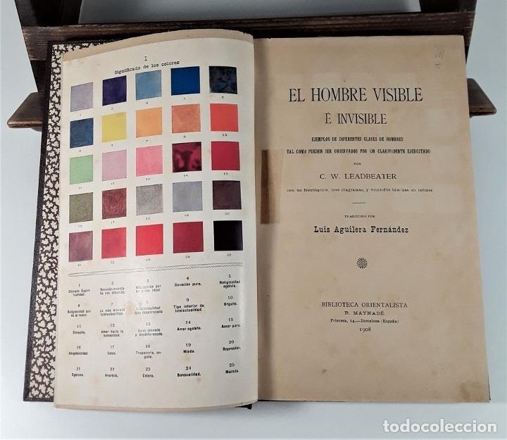 Libros antiguos: EL HOMBRE VISIBLE É INVISIBLE. C. W. LEADBEATER. BARCELONA. 1908. - Foto 3 - 183253330