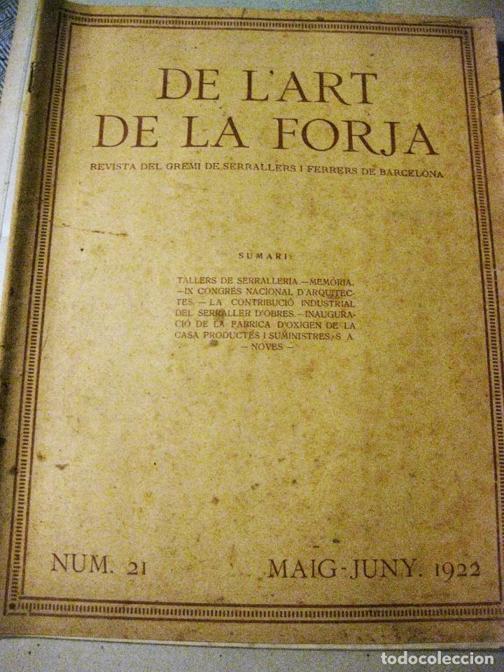 REVISTA DEL GREMI DE SERRALLERS I FERRERS DE BARCELONA DE L'ART DE LA FORJA Nº 21 AÑO 1922 ARQUITECT (Libros Antiguos, Raros y Curiosos - Bellas artes, ocio y coleccionismo - Otros)