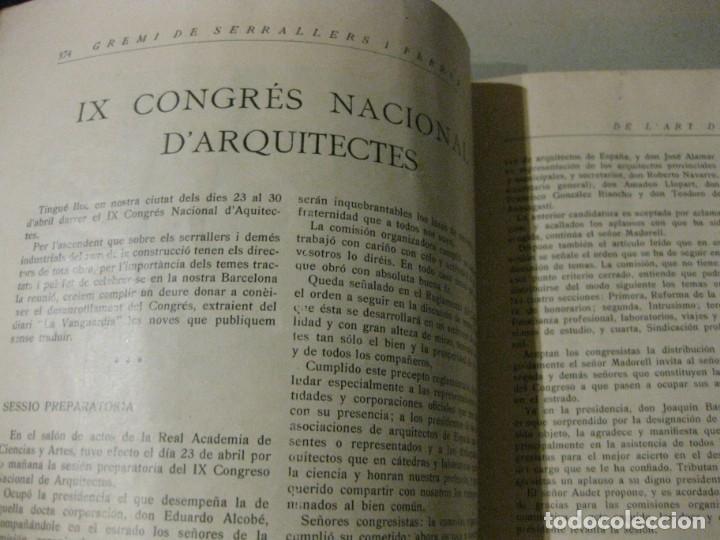 Libros antiguos: revista del gremi de serrallers i ferrers de barcelona de lart de la forja nº 21 año 1922 arquitect - Foto 4 - 183474981