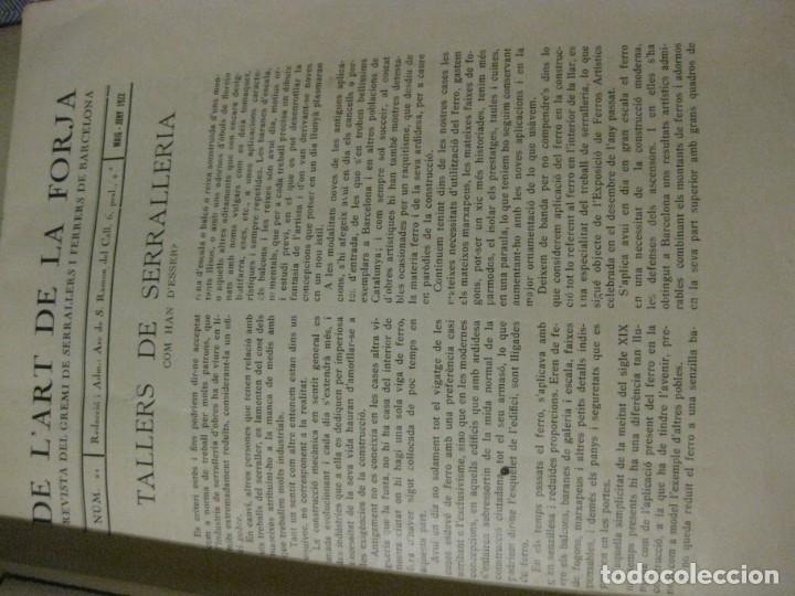 Libros antiguos: revista del gremi de serrallers i ferrers de barcelona de lart de la forja nº 21 año 1922 arquitect - Foto 5 - 183474981