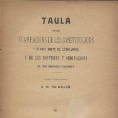 Libros antiguos: TAULA DE LES STAMPAÇIONS DE LES CONSTITUÇIONS Y ALTRES DRETS DE CATHALUNYA../ C.DE BROÇÁ. BCN, 1907.. Lote 183490287