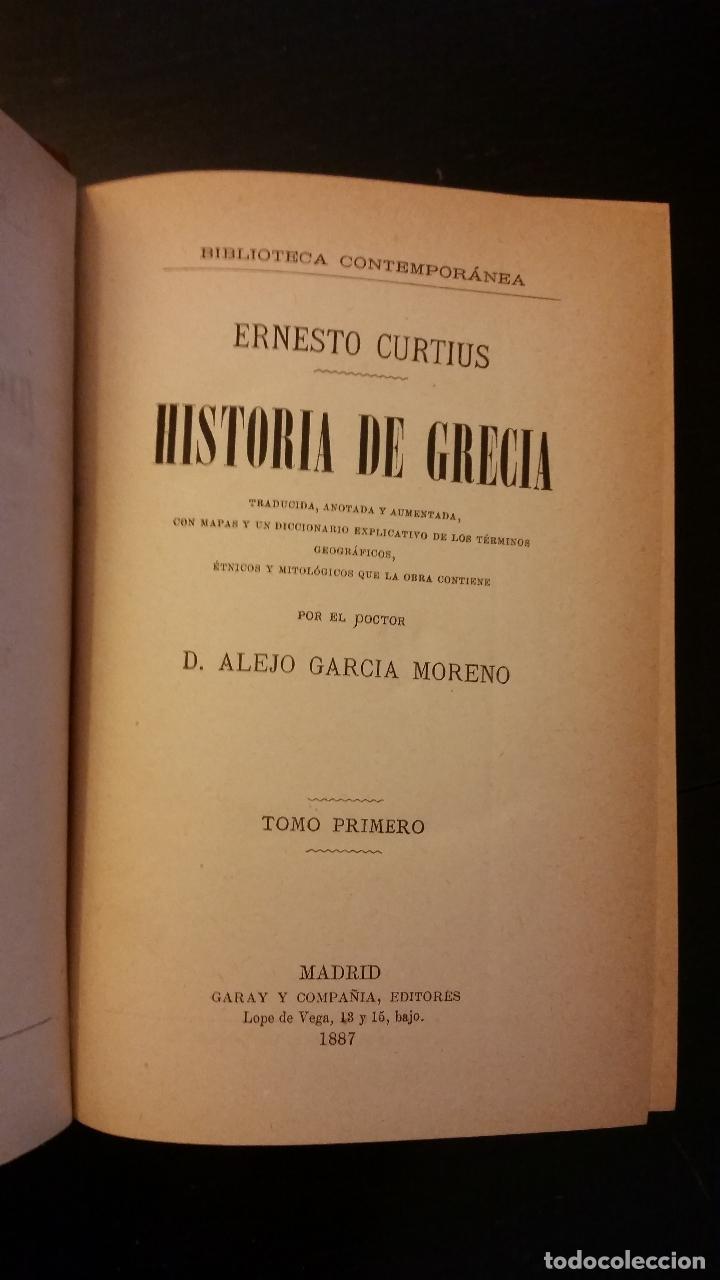 Libros antiguos: 1887 - ERNESTO CURTIUS / ALEJANDRO GARCÍA MORENO - Historia de Grecia - 8 tomos (obra completa) - Foto 2 - 183677838