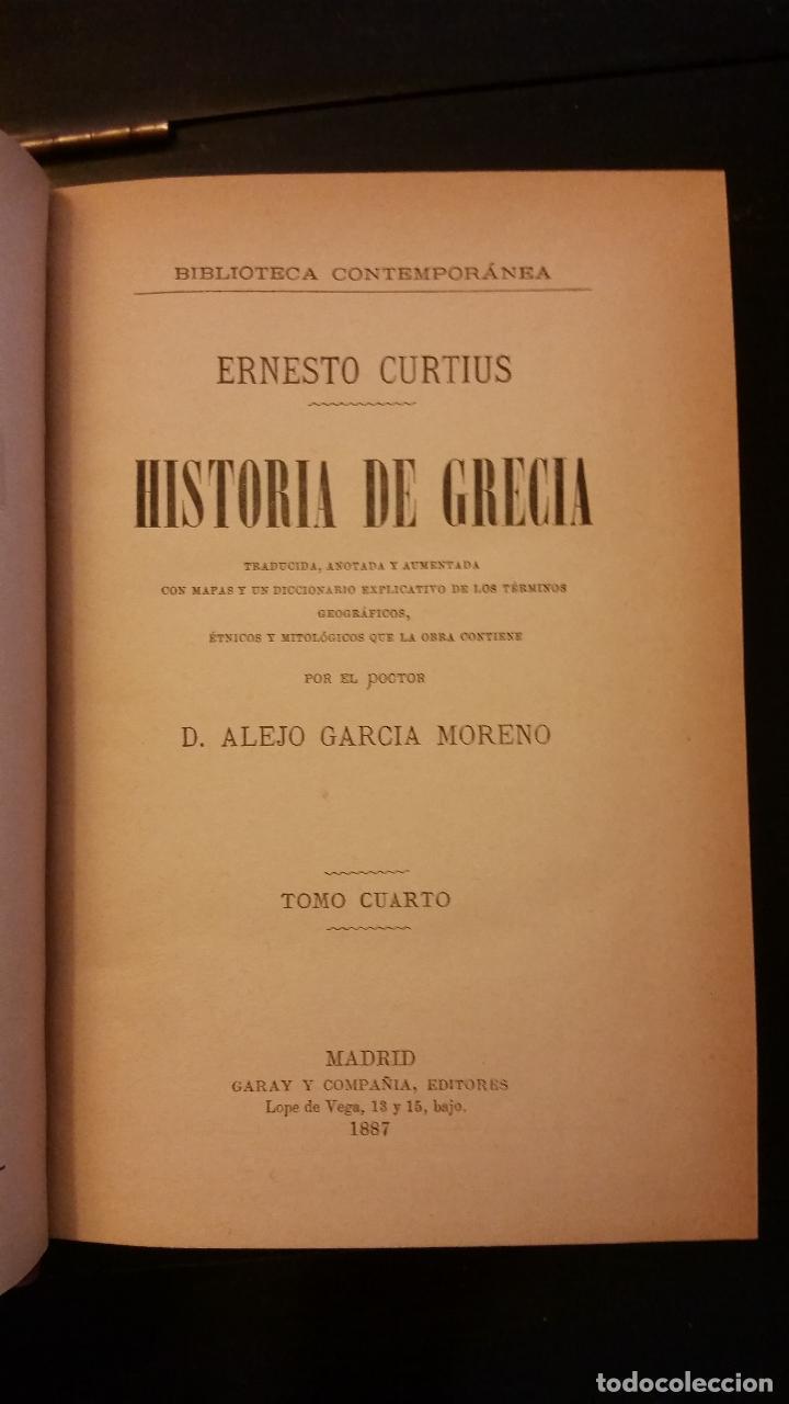 Libros antiguos: 1887 - ERNESTO CURTIUS / ALEJANDRO GARCÍA MORENO - Historia de Grecia - 8 tomos (obra completa) - Foto 6 - 183677838
