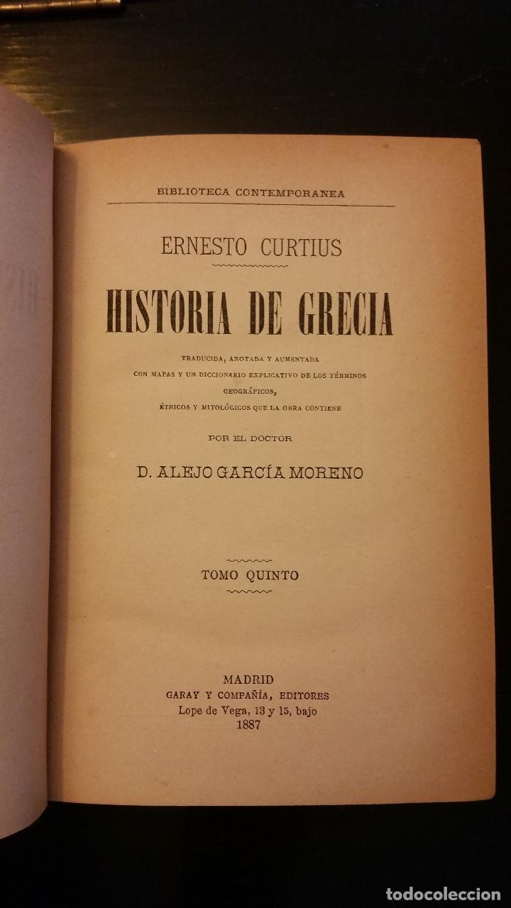 Libros antiguos: 1887 - ERNESTO CURTIUS / ALEJANDRO GARCÍA MORENO - Historia de Grecia - 8 tomos (obra completa) - Foto 7 - 183677838