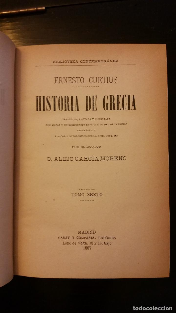 Libros antiguos: 1887 - ERNESTO CURTIUS / ALEJANDRO GARCÍA MORENO - Historia de Grecia - 8 tomos (obra completa) - Foto 8 - 183677838
