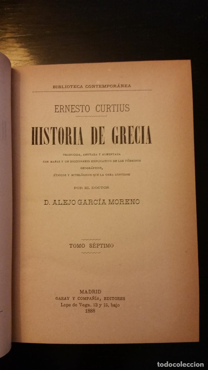 Libros antiguos: 1887 - ERNESTO CURTIUS / ALEJANDRO GARCÍA MORENO - Historia de Grecia - 8 tomos (obra completa) - Foto 9 - 183677838