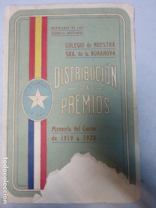 COLEGIO NTRA. SEÑORA DE LA BONANOVA DISTRIBUCIÓN DE PREMIOS MEMORIA DEL CURSO 1919 - 1920 (Libros Antiguos, Raros y Curiosos - Literatura Infantil y Juvenil - Otros)
