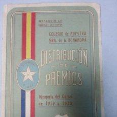 Libros antiguos: COLEGIO NTRA. SEÑORA DE LA BONANOVA DISTRIBUCIÓN DE PREMIOS MEMORIA DEL CURSO 1919 - 1920. Lote 183860926