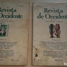 Libri antichi: LA REVISTA DE OCCIDENTE - AÑO V Nº L Y XLVII - 1927 - DIRECTOR JOSÉ ORTEGA Y GASSET. Lote 184347101
