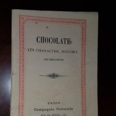 Livres anciens: CHOCOLATE, ITS CHARACTER, HISTORY AND TREATMENT - APROX. 1868. Lote 184496906
