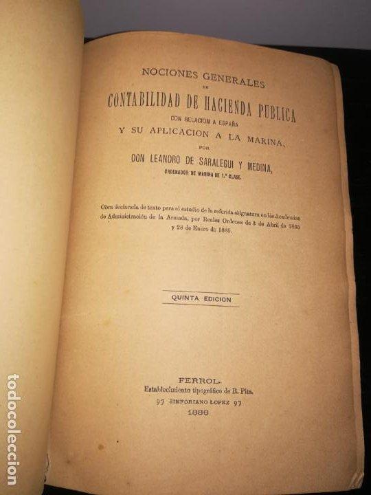 NOCIONES GENERALES DE CONTABILIDAD DE HACIENDA PUBLICA CON DE ESPAÑA Y SU APLICACIÓN A LA MARINA (Libros Antiguos, Raros y Curiosos - Ciencias, Manuales y Oficios - Otros)