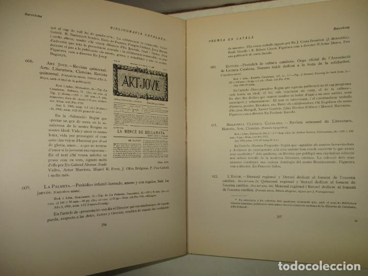 Libros antiguos: BIBLIOGRAFÍA CATALANA. PREMSA. 3 VOLS. GIVANEL I MAS, Joan. 1931-1937. - Foto 4 - 184557652