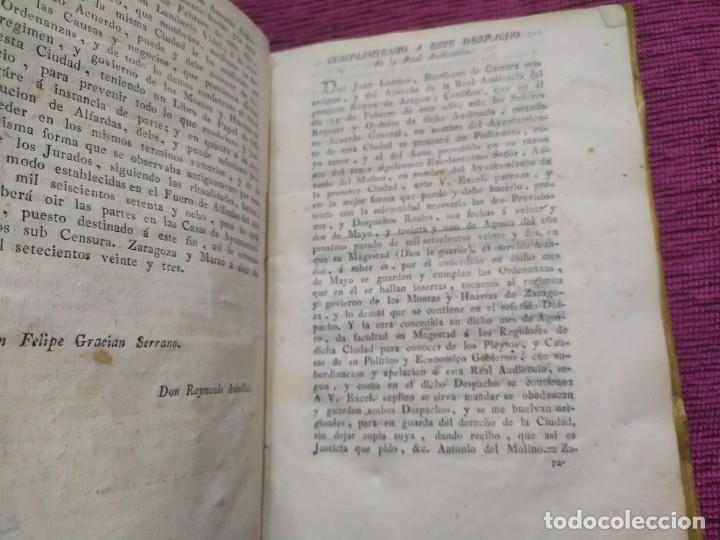 Libros antiguos: 1799. Estatutos y ordenaciones a los montes y huertas de la ciudad de Zaragoza. Medardo Heras. - Foto 3 - 185877901