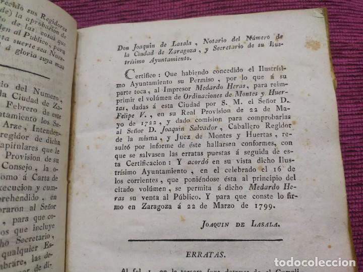 Libros antiguos: 1799. Estatutos y ordenaciones a los montes y huertas de la ciudad de Zaragoza. Medardo Heras. - Foto 7 - 185877901