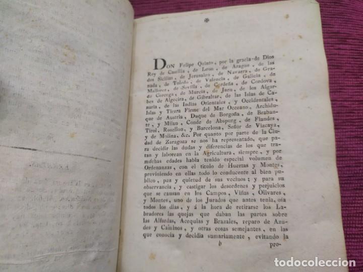 Libros antiguos: 1799. Estatutos y ordenaciones a los montes y huertas de la ciudad de Zaragoza. Medardo Heras. - Foto 8 - 185877901