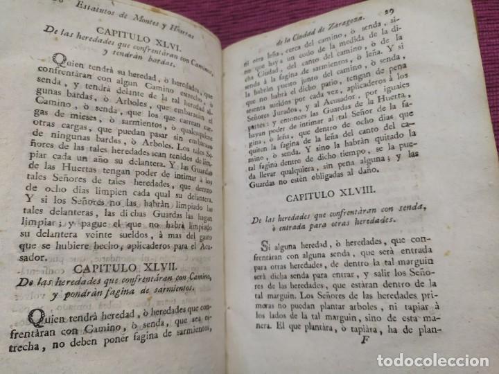 Libros antiguos: 1799. Estatutos y ordenaciones a los montes y huertas de la ciudad de Zaragoza. Medardo Heras. - Foto 9 - 185877901