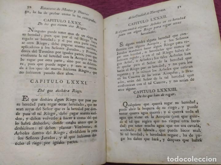 Libros antiguos: 1799. Estatutos y ordenaciones a los montes y huertas de la ciudad de Zaragoza. Medardo Heras. - Foto 11 - 185877901