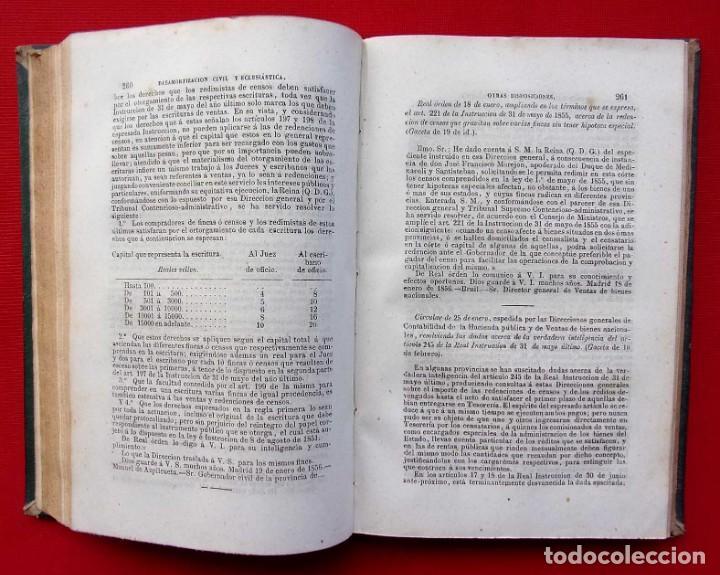 Libros antiguos: MANUAL COMPLETO DE DESAMORTIZACIÓN CIVIL Y ECLESIÁSTICA. AÑO: 1856. IGNACIO MIQUEL Y D.JOSE REUS. - Foto 6 - 186008003
