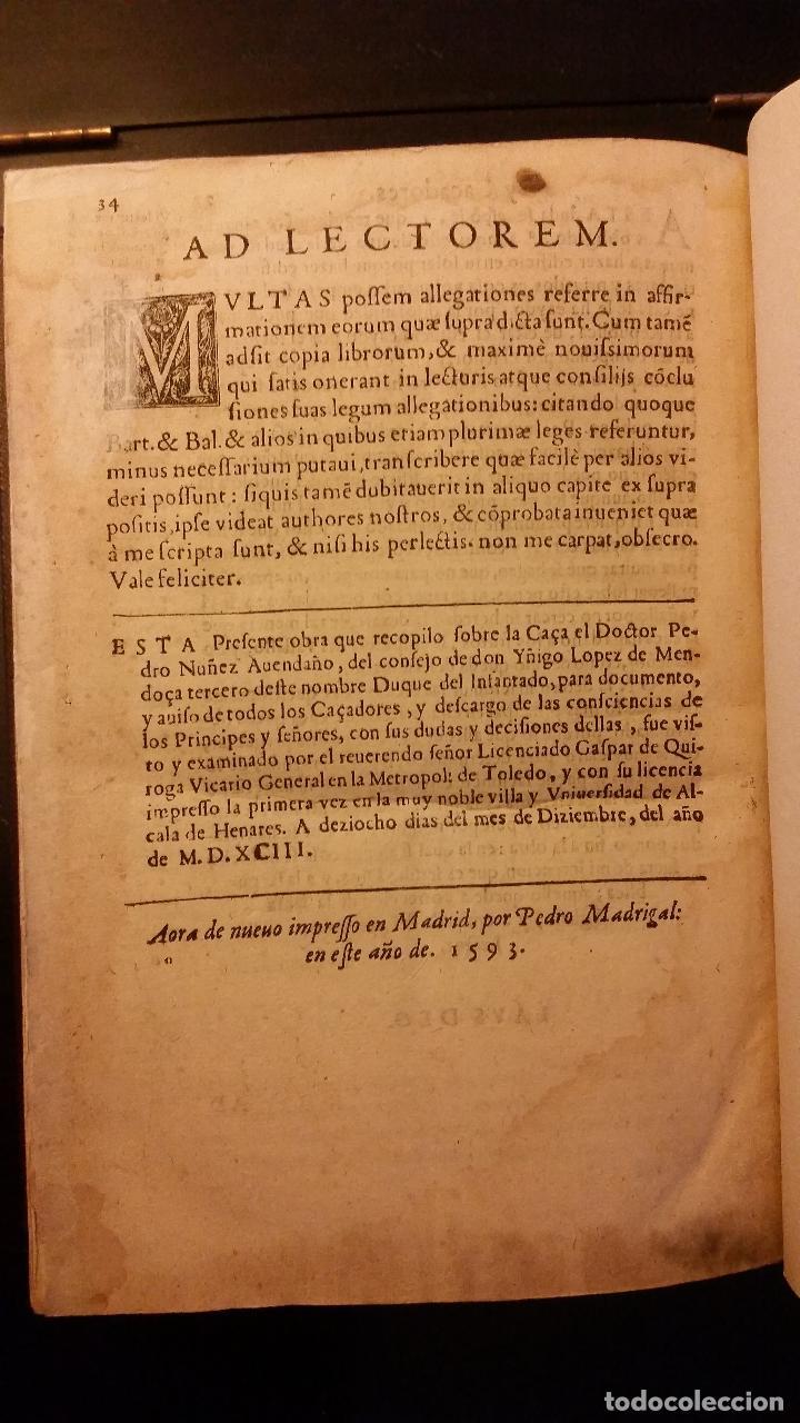 Libros antiguos: 1593 - PEDRO NUÑEZ DE AVENDAÑO - Aviso de Caçadores, y Caza - Foto 16 - 186056538