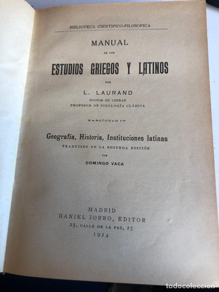 Libros antiguos: Manual de los estudios griegos y latinos - Foto 2 - 186126500