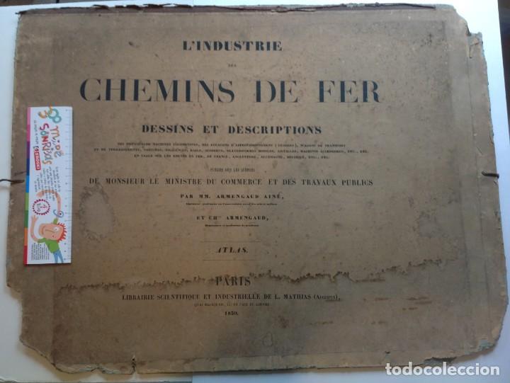Libros antiguos: Año 1839 lote de 19 grandes laminas de Ferrocarril tren * incunable ferroviario * locomotoras * 61cm - Foto 2 - 186128423