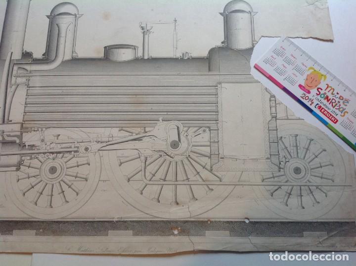 Libros antiguos: Año 1839 lote de 19 grandes laminas de Ferrocarril tren * incunable ferroviario * locomotoras * 61cm - Foto 3 - 186128423